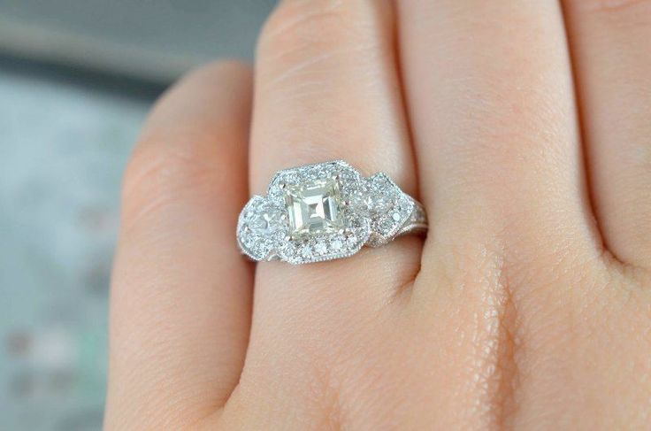 1.97ct Princess Cut Solitaire Wedding 14k White Gold Women Wedding Ring #Uniquegemstone17 #SolitairewithAccents