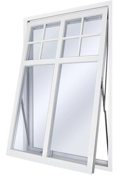 """Ekstrands Sverige104 TS Vridfönster, Tillval: Glasdelande post GDP1:1 + Spröjs SP1:1 """"Flaggfönster"""" utförande. #Ekstrands #Sverige104 #utåtgående #fönster"""