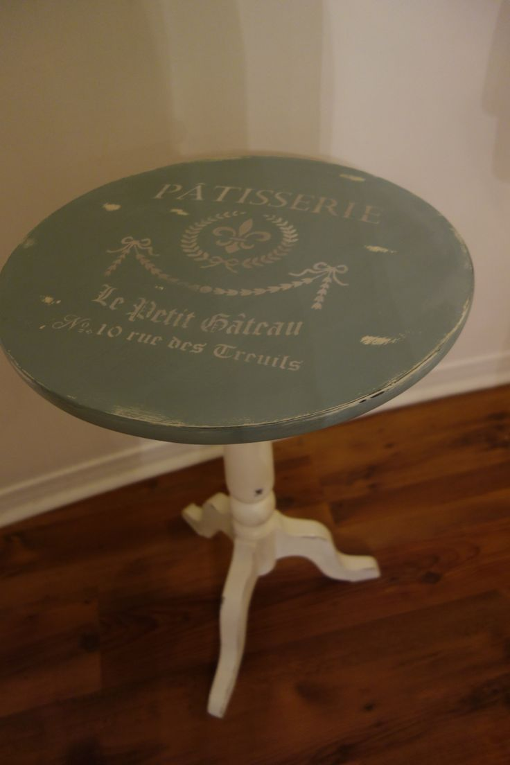 occasional table in patina fossil paint with pattiserie stencil