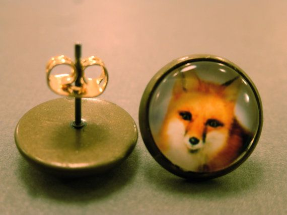 Fox Studs Red Tailed Fox Fake Plugs Nature by CraftsbyBrittany, $5.50