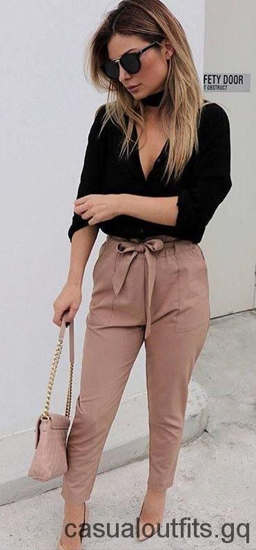 #spring #outfits Black Blouse + Blush Bow Pants + Nude Pumps – Casual Outfits 2019