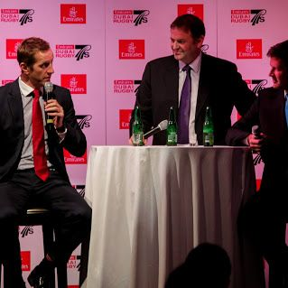 Will Greenwood and Bobby Skinstad at the Emirates Rugby Long Lunch #Dubai7s #longlunch