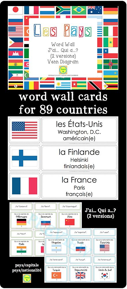 $ Les Pays - word wall cards, j'ai…qui a…?, venn diagrams in French. Great to teach and practice vocabulary for countries of the world, the capitals and nationalities #français #francais
