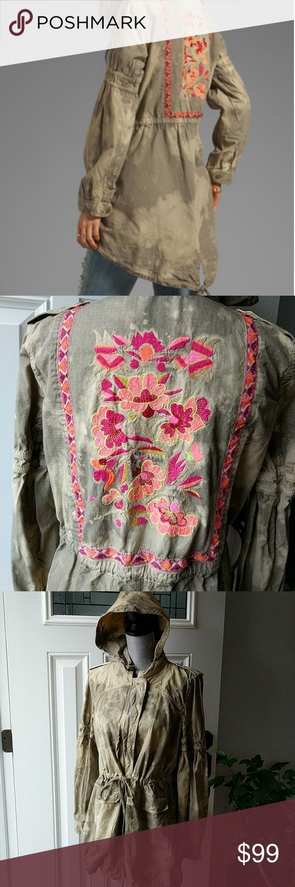 Free People RARE Festival Anorak Jacket Excellent condition, no flaws. Hard to find, sold out everywhere! Gorgeous embroidery on back, drawstring waist and bottom hem, hidden front zipper with snap flap closure. 100% cotton. Hood zips into collar so offers flexibility to wear the hood or not. Free People Jackets & Coats