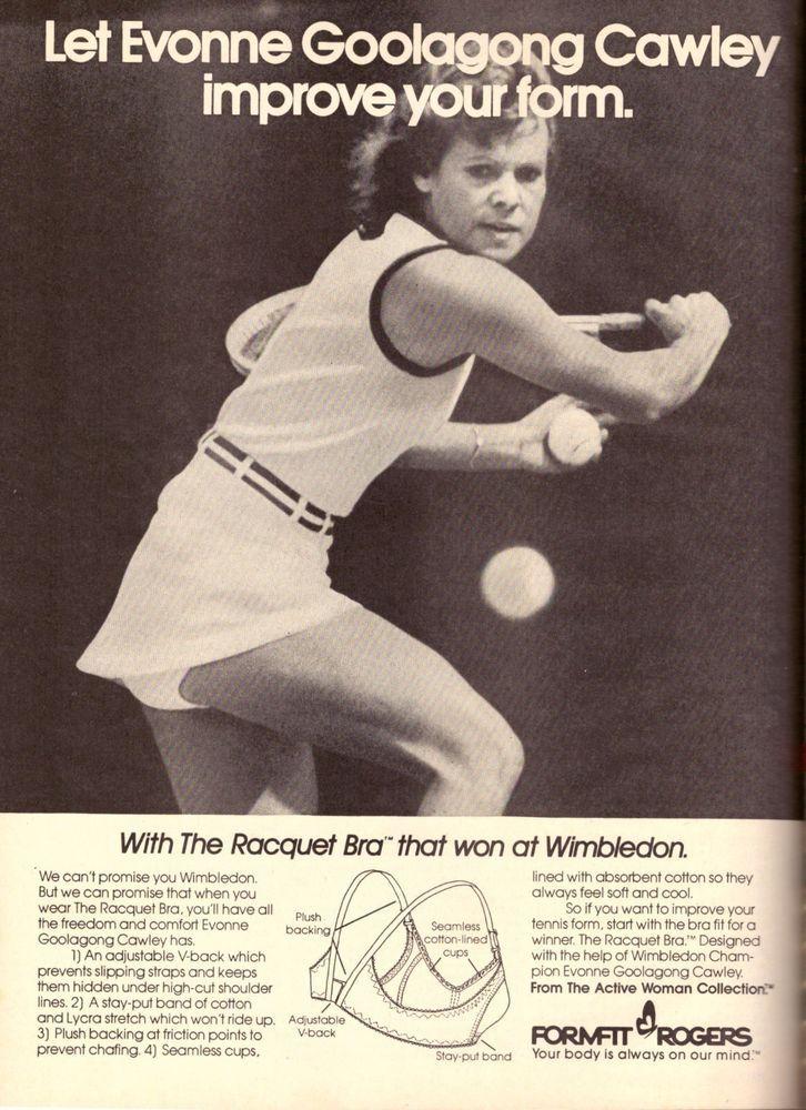 1980 Evonne Goolagong Tennis Formfit Bra  Print Ad Advertisement Vintage VTG 80s | eBay
