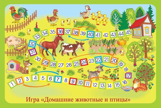 Настольная игра для детей Домашние животные и птицы