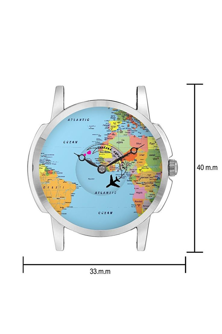 The 37 best travel watch images on pinterest buy travel watch bigowl airplane world map design leather strap casual wrist watch perfect gumiabroncs Gallery
