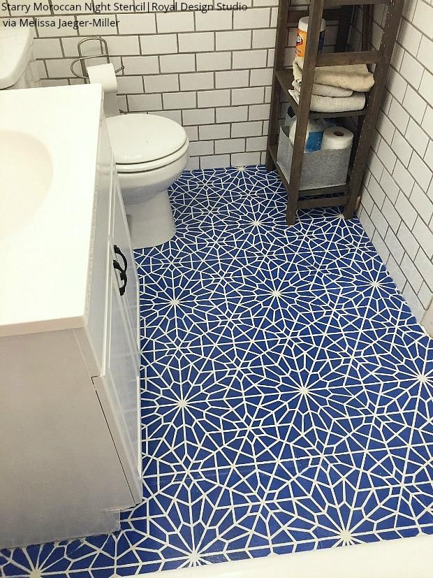 The Renovation Hack That Will Save You 1000s Bathroom Tile Floor Stencils In 2020 Moroccan Wall Stencils Stenciled Floor Tile Bathroom