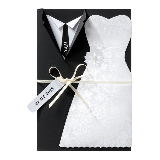 Fancy wedding card with tuxedo and bridal gown, pearl and ribbon