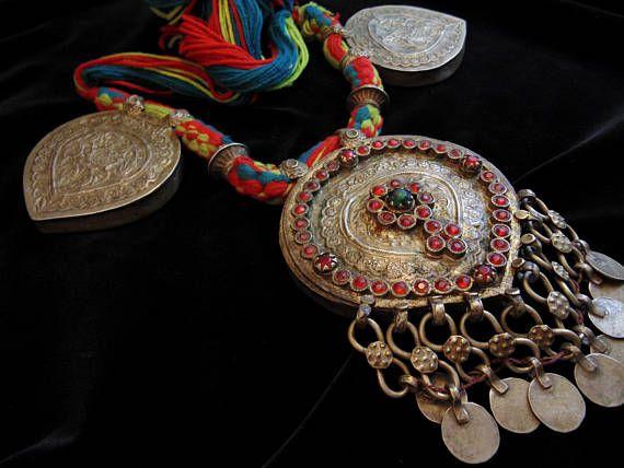 N4660 - Special Vintage Kashmiri Prayer Box Necklace - Afghani Ethnic Boho Belly Dance Statement Necklace