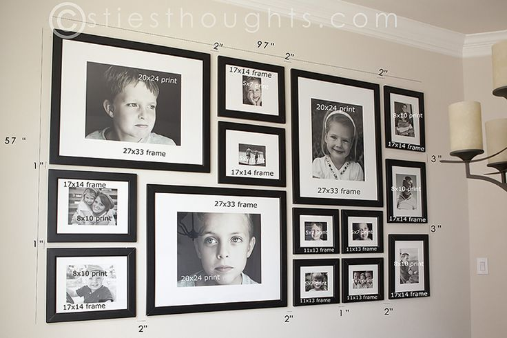 Christie's photo gallery wall, with dimensions.  Because she is that awesome, AND she loves cookies.