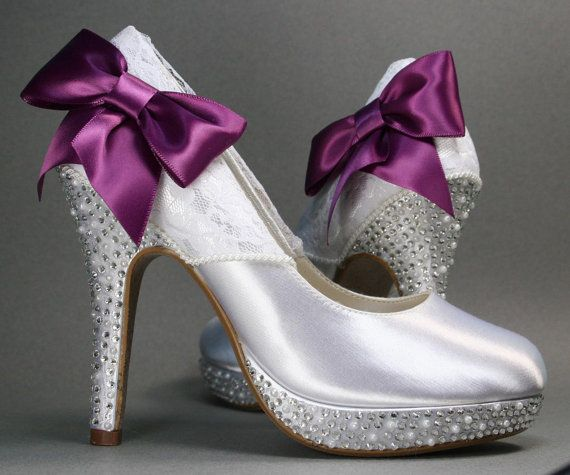 White Platform Wedding Shoes With Pearl And Rhinestone Accents Lace Overlay Purple Bow