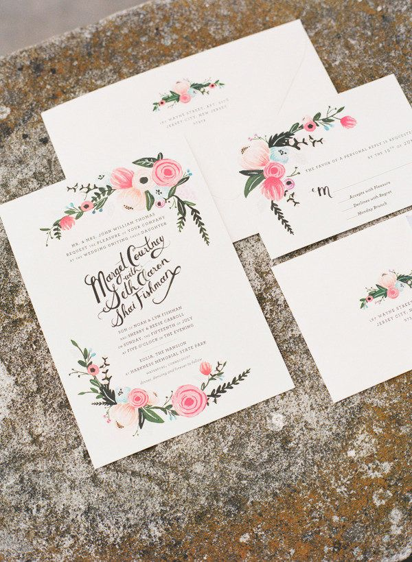 Wedding #Invitations by Rifle Paper Co. | Photography: Katie Stoops  | http://www.stylemepretty.com/2012/11/06/connecticut-wedding-at-eolia-mansion-from-katie-stoops-photography/