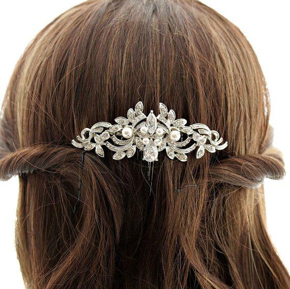 Crystal Wedding Hair Comb Accessory Silver Vintage Style Rhinestone Wedding Hair Comb with Swarovski Pearls Bridal Hair Accessories
