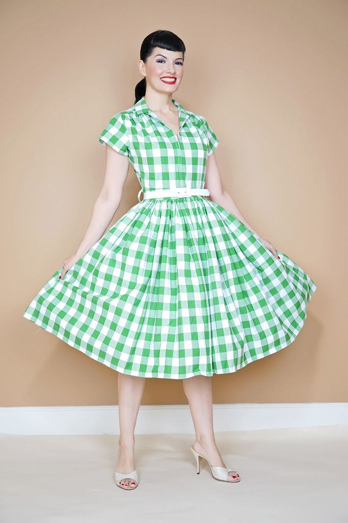 Gingham Green print Kelly Dress