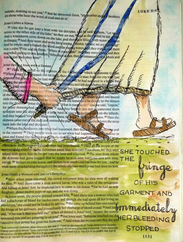 I often wonder what this electric moment felt like to both of them - when Jesus perceived that power had gone out from him. These are the kinds of questions to which we will have answers upon seeing His face one day. Bible art journaling by @peggythibodeau www.peggyart.com