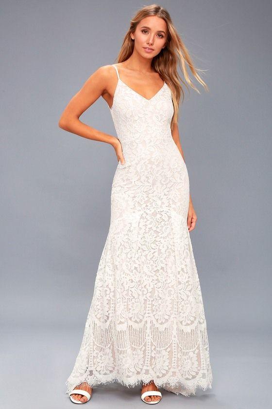 6885916d606 Flynn White Lace Maxi Dress 1. Lulus Exclusive!