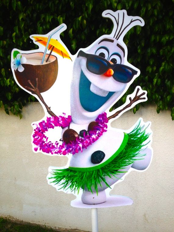 Disney Frozen Birthday Olaf decoration guest table or food court centerpiece Olaf in summer Olaf luau Olaf in Hawaii