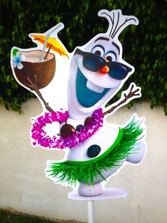 Disney Frozen Birthday Olaf decoration guest table or food court centerpiece Olaf in summer Olaf luau Olaf in Hawaii