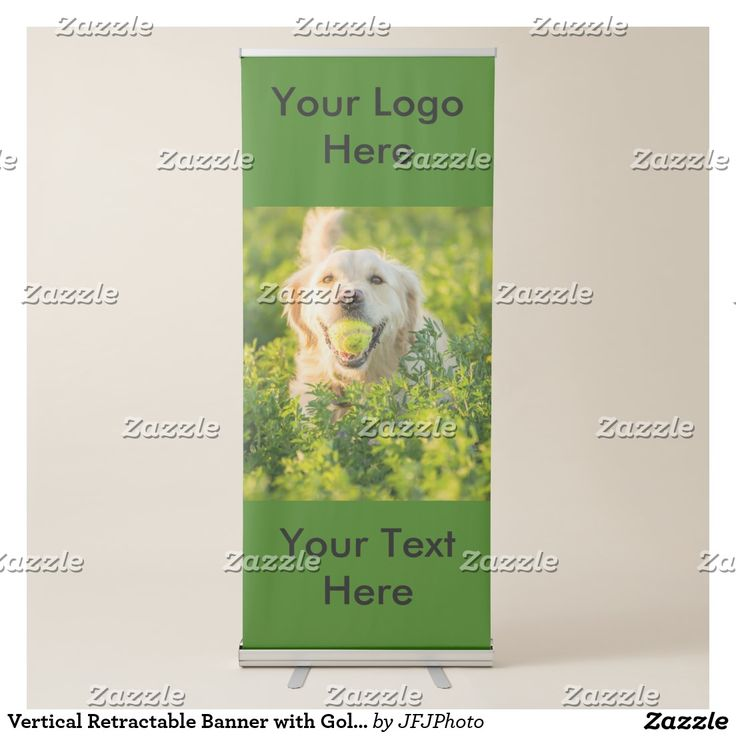 Vertical Retractable Banner with Golden Retriever