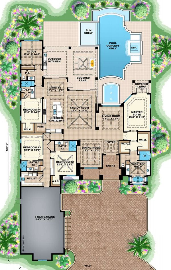 Southern Style House Plan - 4 Beds 3.50 Baths 6095 Sq/Ft Plan #27-554 Floor Plan - Main Floor Plan - Houseplans.com
