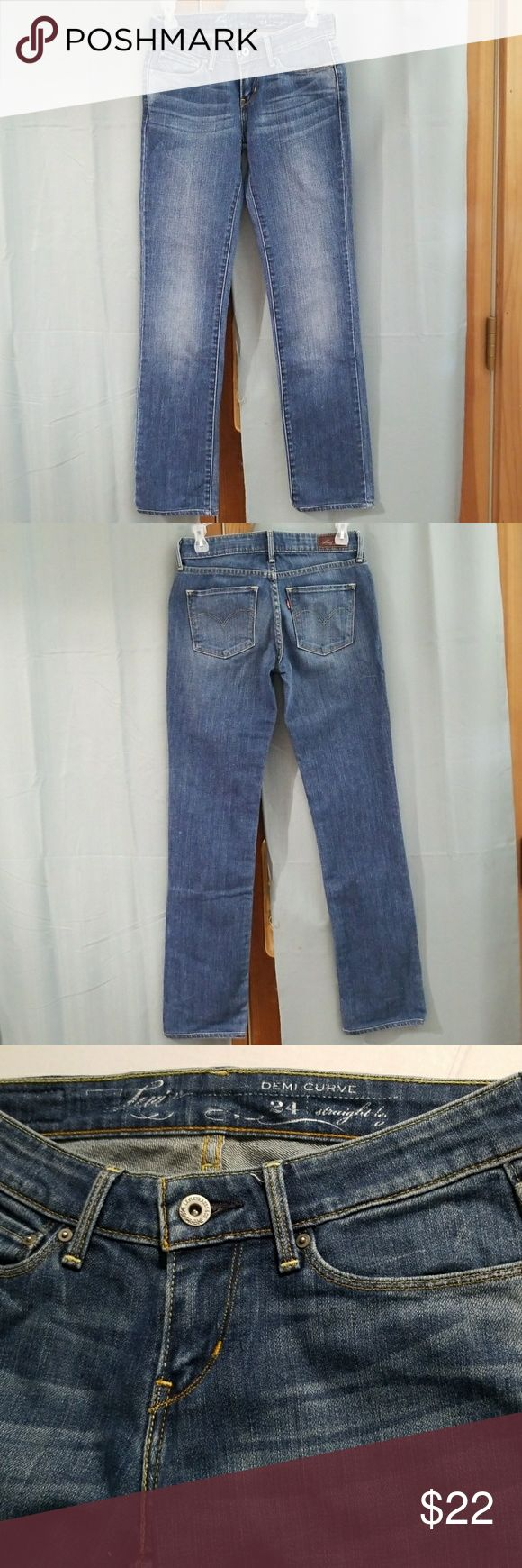"""Levi's Demi Curve Straight Leg Jeans Worn a few times only. In EXCELLENT CONDITION.  Waist: 24"""", Length: 32"""" ... Materials: 98% cotton and 2% elastine.. No Holes.. no stains.. no marks.. Feel free to ask.. in Great Condition. Open for reasonable offers. Levi's Jeans Straight Leg"""
