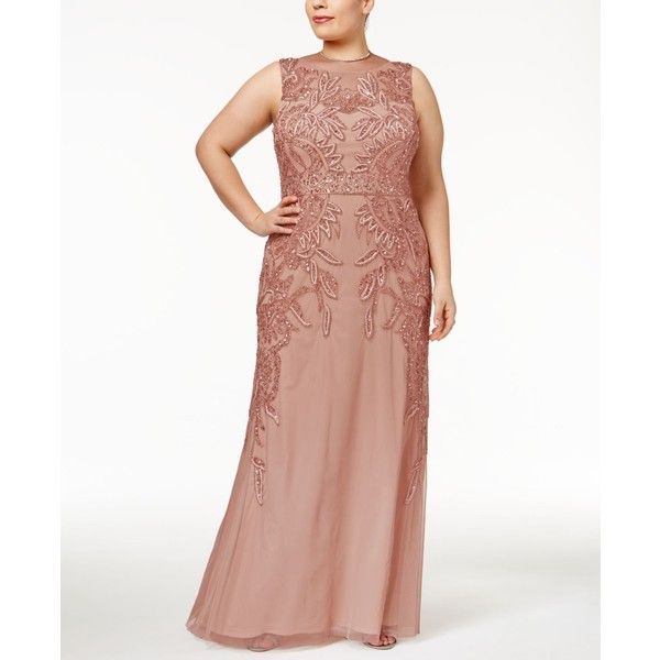 Adrianna Papell Plus Size Beaded Gown ($399) ❤ liked on Polyvore featuring plus size women's fashion, plus size clothing, plus size dresses, plus size gowns, rose gold, adrianna papell gowns, plus size ball gowns, beaded evening gowns and women's plus size dresses
