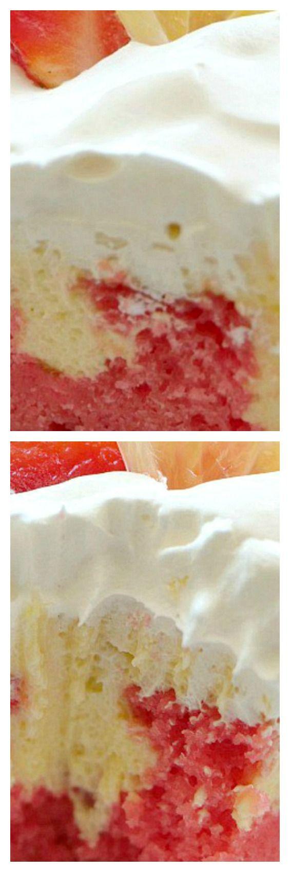 Strawberry Lemonade Cream Cheese Poke Cake