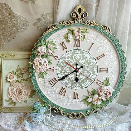 """Часы для дома ручной работы. Ярмарка Мастеров - ручная работа. Купить часы настенные """"Вдохновение"""". Handmade. Зеленый, часы в подарок"""