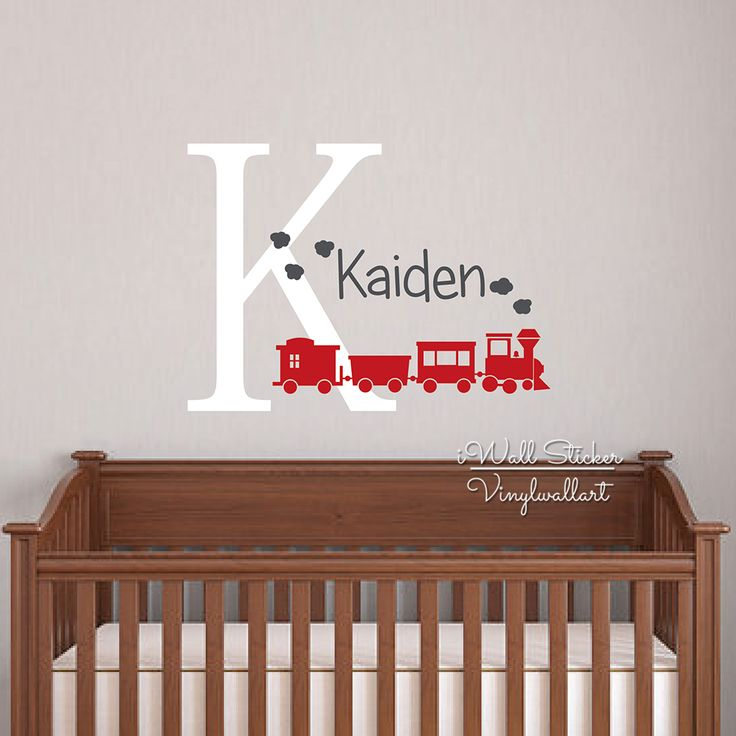 Baby Nursery Name Wall Sticker Children Name Train Wall Decal Boys Name Wall Decor Easy Wall