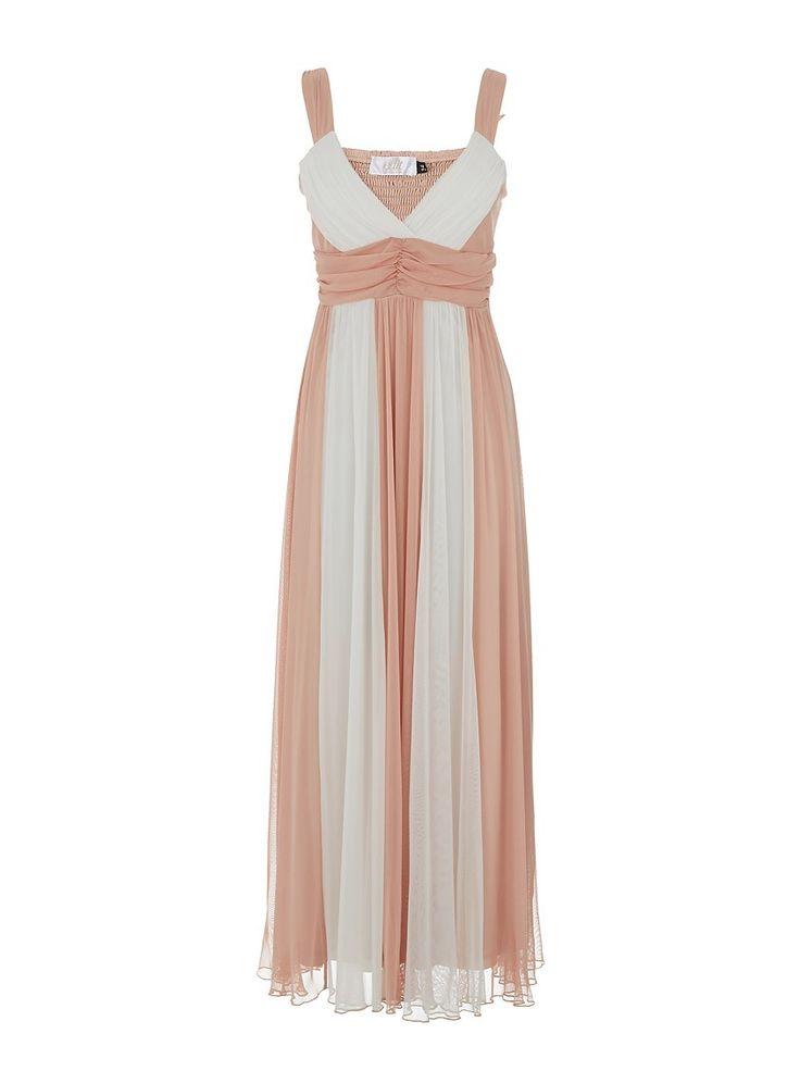 Mesh colourblock maxi dress White