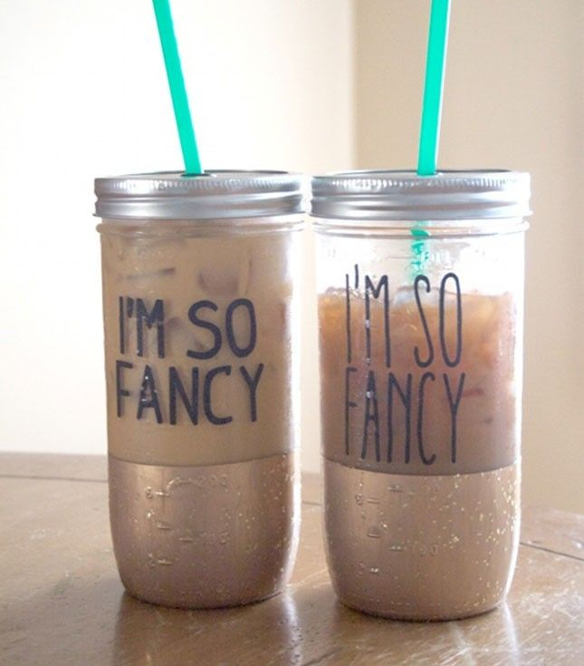 DIY these gold-dipped mason jar tumblers to sip from at your bachelorette party.