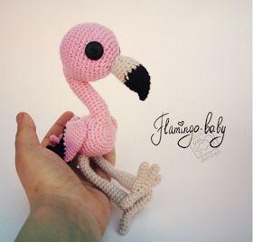 900 схем амигуруми на русском: Малыш фламинго