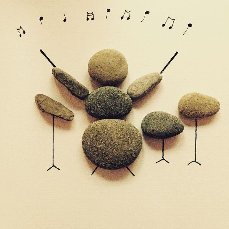 Drummer pebble art