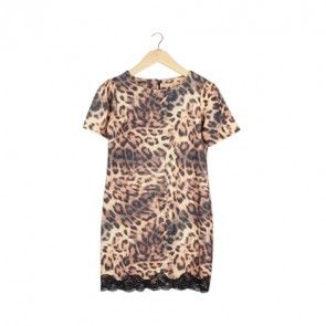 Brown Tiger Print Mini Dress