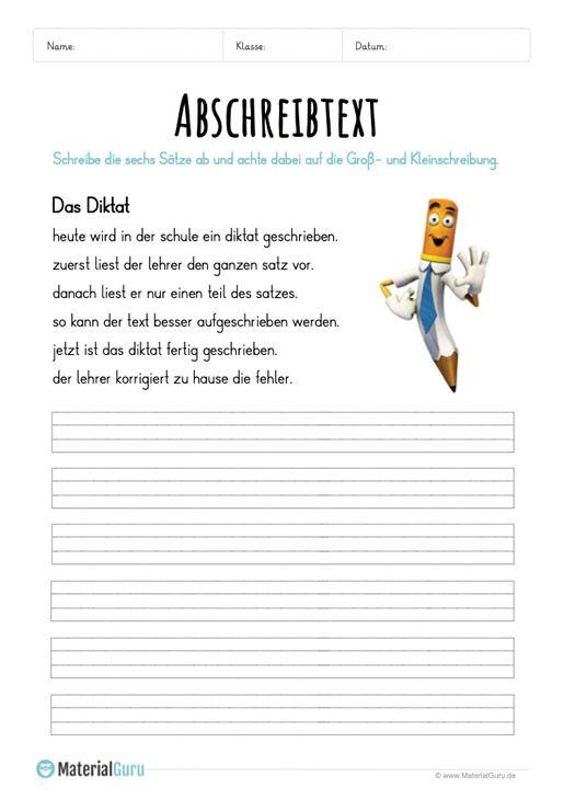 Arbeitsblatt: Text abschreiben – Das Diktat