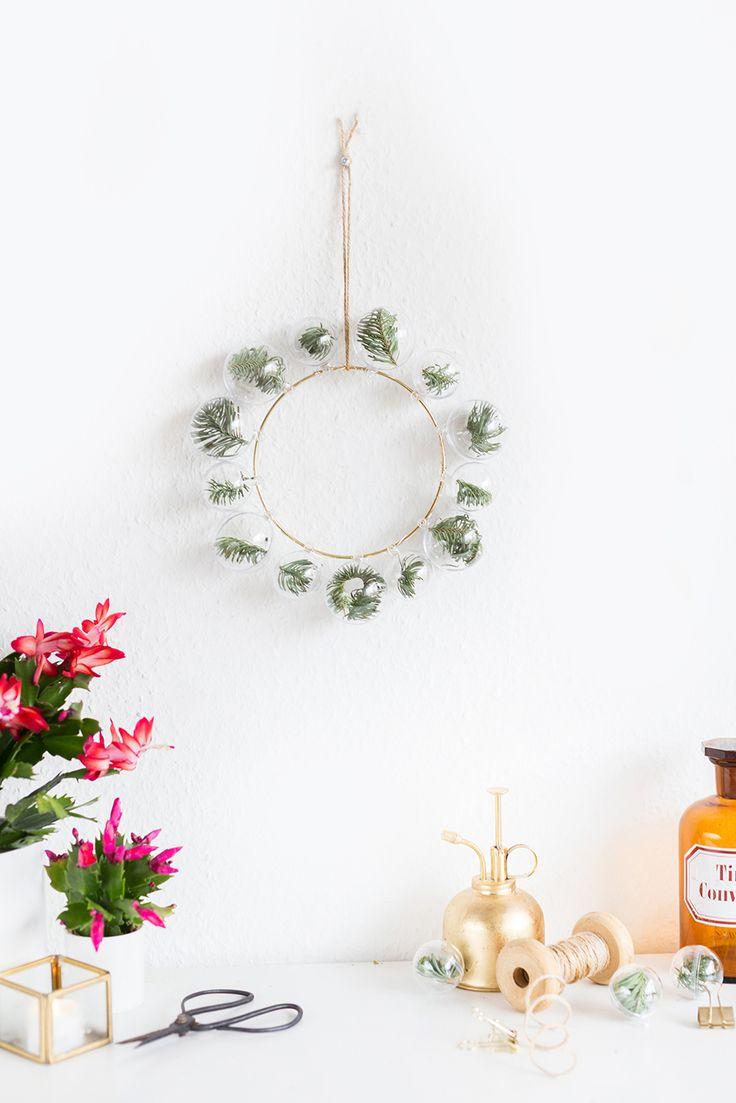 Good Einfache Dekoration Und Mobel Pantone Weihnachtskugeln #6: DIYnachten Türchen 10: DIY Deko-Ring Mit Tannen-Weihnachtskugeln