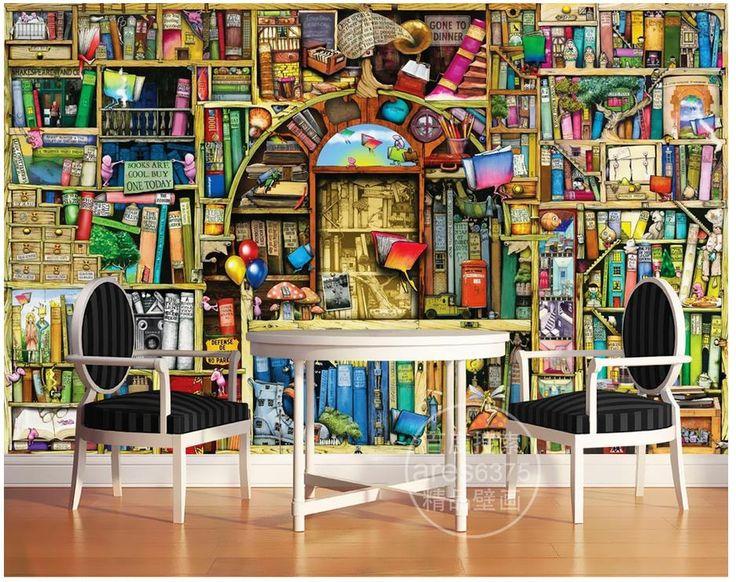 Bookshelf with Wallpaper