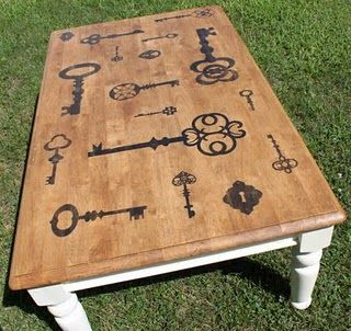 key coffee table.  Cool idea--love the stencils, don't like the white legs.  Would look good as a wall hanging, various sizes.