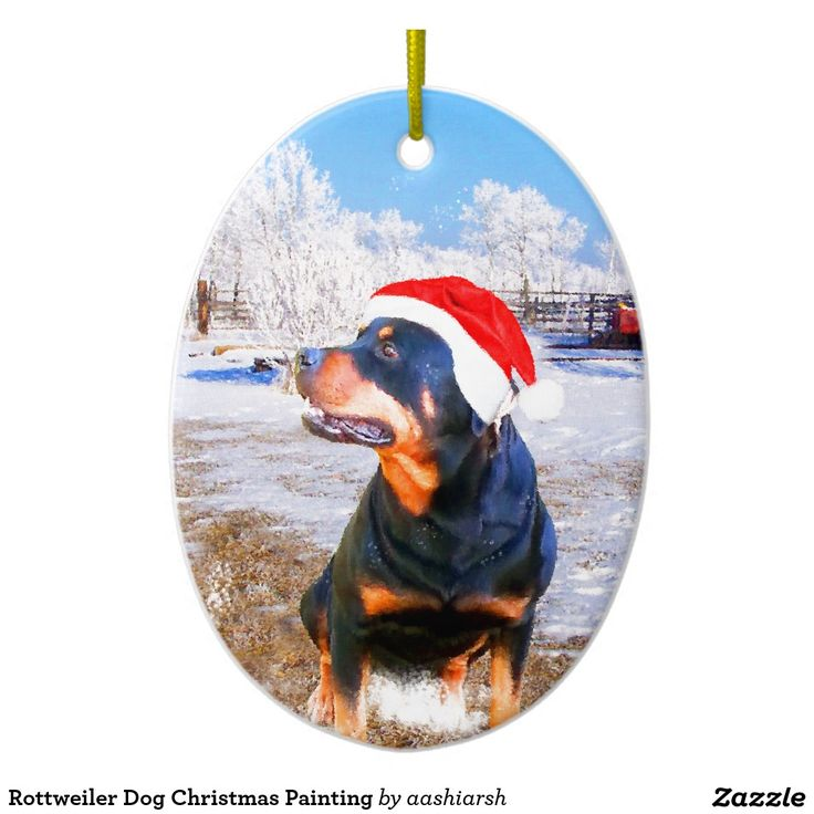 #Rottweiler #Dog #Christmas #Painting Ceramic #Ornament #animal #pet #doggie #snow #trees #santa #hat