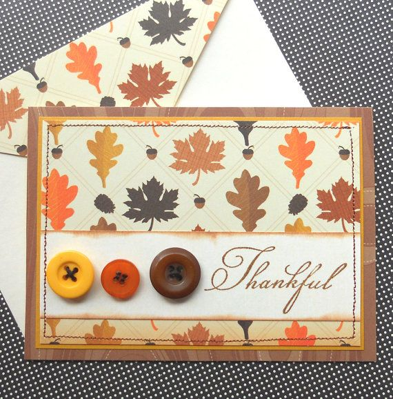 Set of 4 Handmade Thank You Cards with Matching Embellished Envelopes - Fall…