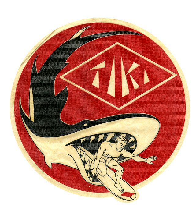 A legendary Tiki surfboard logo from the 1960's. Quite rare to find one of these on a board nowadays although some original decals tissue still exist down here at HQ. Featured in the late 60's on a number for transitional era single fins.           tiki, surf, surfing, retro surf, surfboard logo