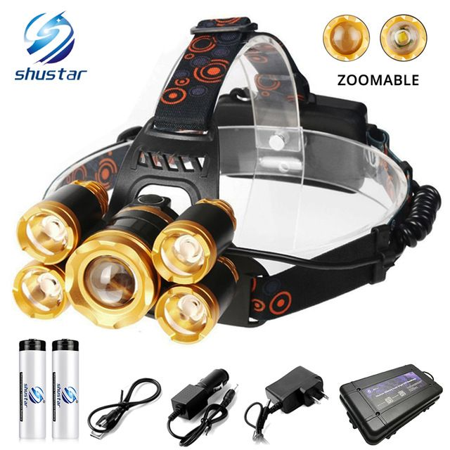 Super Bright Led Headlamp 5 X T6 Led Lamp Bead 15000 Lumens Led Headlight Zoomable Fishing Lamp Camping Lamp Use 18650 Bat Camping Lamp Led Headlamp Bright Led