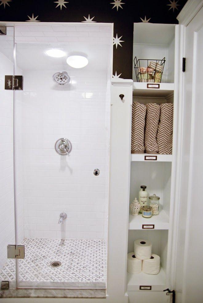 Rambling Renovators   white black bathroom vintage. Nice storage area next to walk in shower.