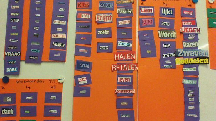 De door kinderen zelf gemaakte kaartjes met werkwoordsvormen, bieden mogelijkheden voor diverse oefeningen