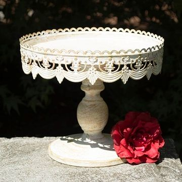 Metal Cake And Dessert Stand  Inch Diameter Vintage White