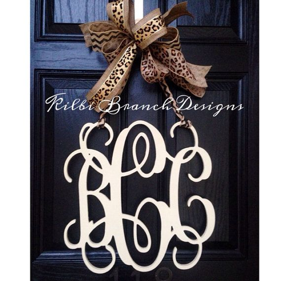 18 inch 3 letter wooden front door monogram by KilbiBranchDesigns, $85.00