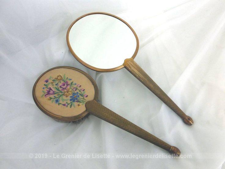 Miroir face à main et brosse assortie décor brodé