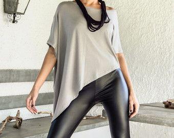 Chemisier Top asymétrique gris d'argent / gris Loose chemisier haut / asymétrique Plus Blouse taille / #35131