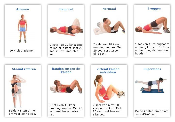 Mijn nieuwe trainingsschema:  7 dagen per week:   Buikspieroefeningen:                  Armspieroefeningen:   Breng je armen langs je op sch...